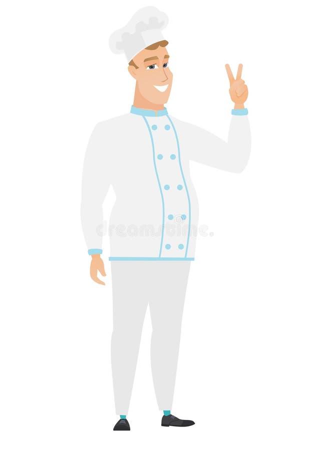 Kaukaski szefa kuchni kucharz pokazuje zwycięstwo gest royalty ilustracja