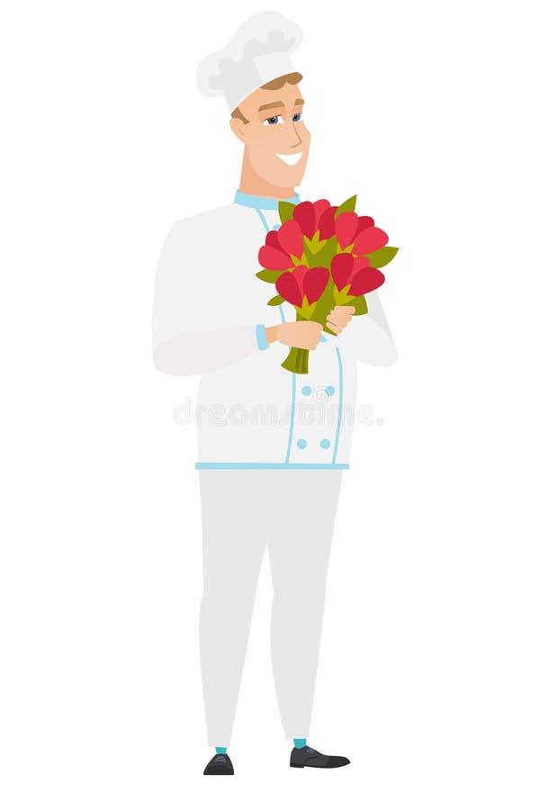 Kaukaski szefa kuchni kucharz trzyma bukiet kwiaty royalty ilustracja