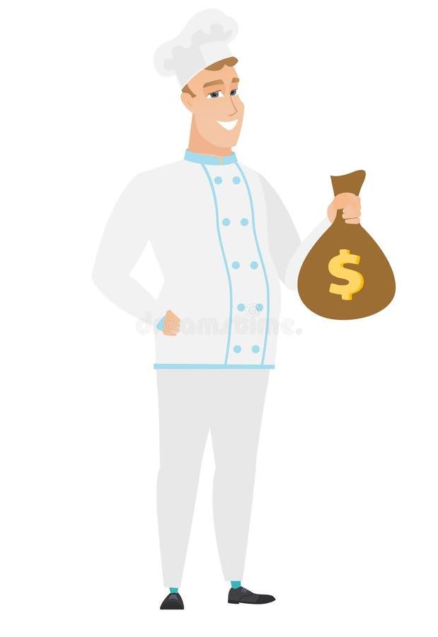 Kaukaski szefa kuchni kucharz trzyma pieniądze torbę ilustracja wektor