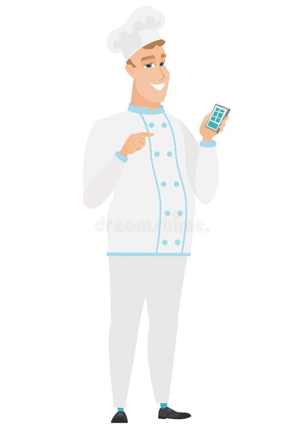 Kaukaski szefa kuchni kucharz trzyma telefon komórkowego ilustracji