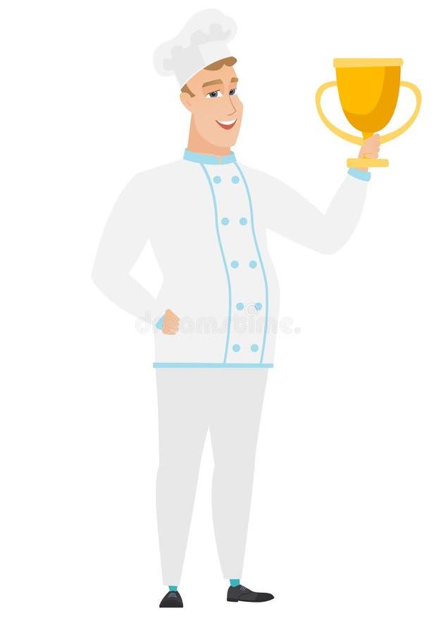 Kaukaski szefa kuchni kucharz trzyma trofeum ilustracji