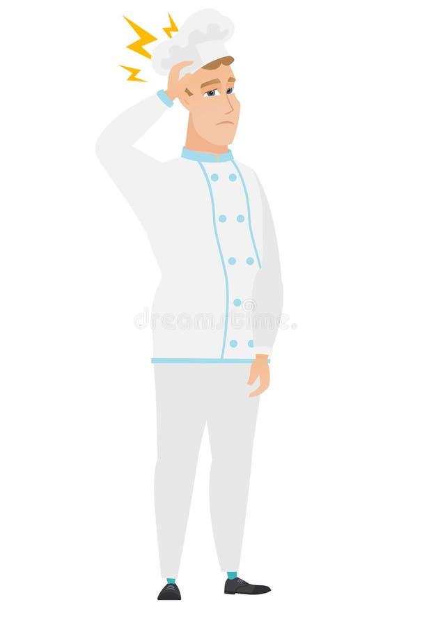 Kaukaski szefa kuchni kucharz z błyskawicą nad jego głową ilustracji