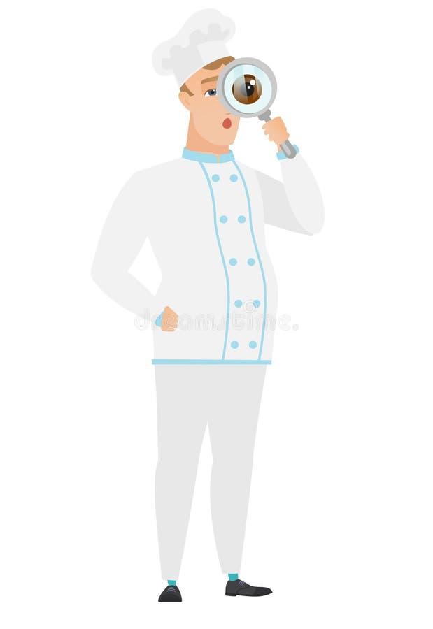 Kaukaski szefa kuchni kucharz z powiększać - szkło royalty ilustracja