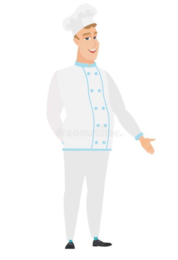 Kaukaski szefa kuchni kucharz z ręką w jego kieszeni ilustracji