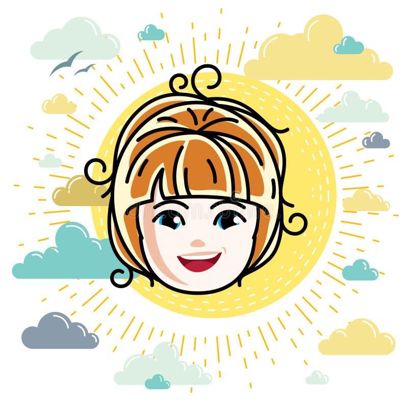 Kaukaski typ dziewczyny twarz wyraża pozytywne emocje, wektor hu royalty ilustracja