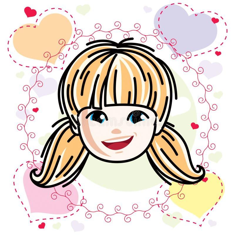 Kaukaski typ dziewczyny twarz wyra?a pozytywne emocje, wektorowa ludzkiej g?owy ilustracja ilustracja wektor