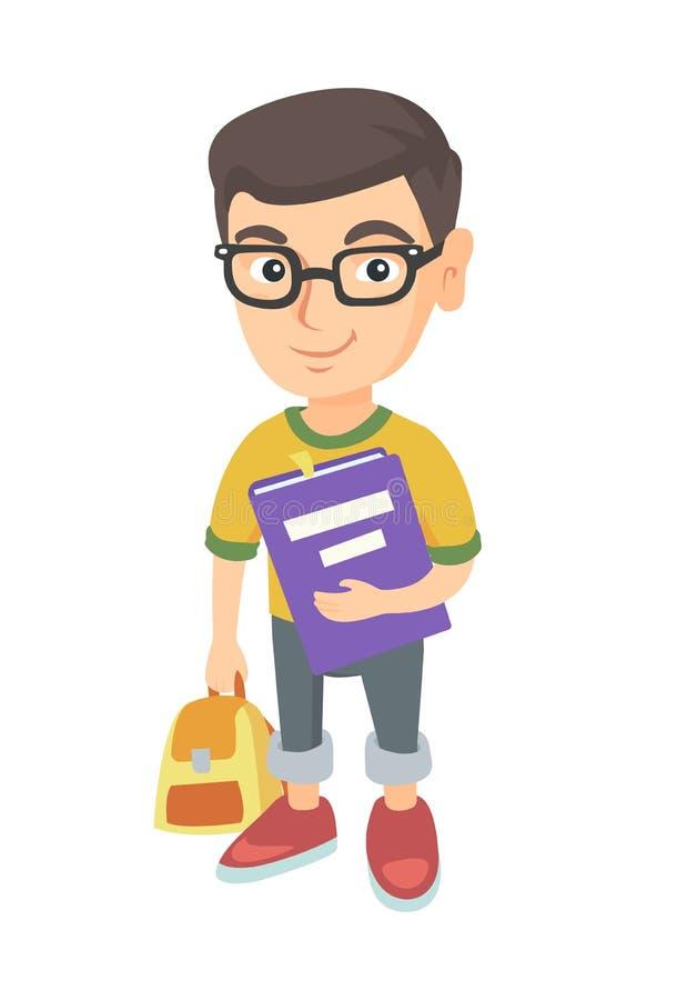 Kaukaski uczeń z plecakiem i podręcznikiem ilustracja wektor