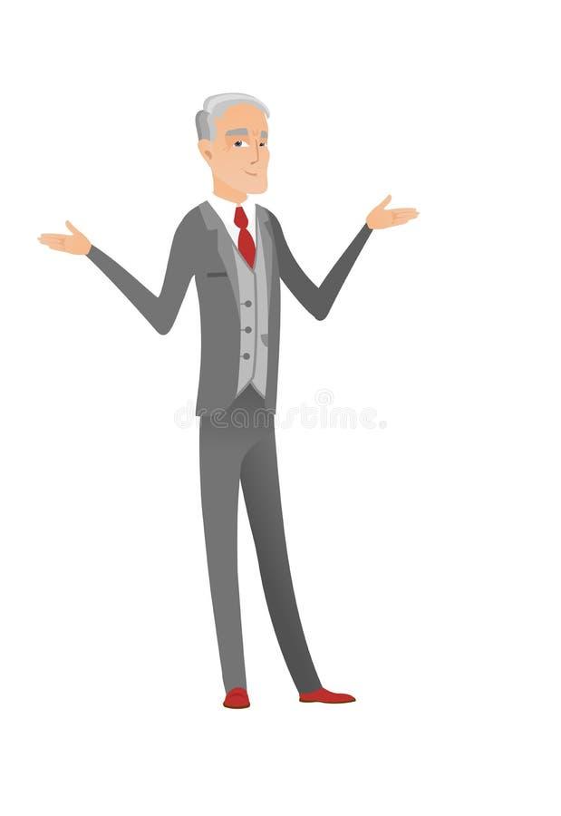 Kaukaski zmieszany biznesmen z rozciągniętymi rękami ilustracji