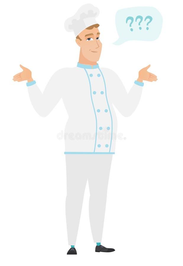 Kaukaski zmieszany szefa kuchni kucharz z rozciągniętymi rękami ilustracji