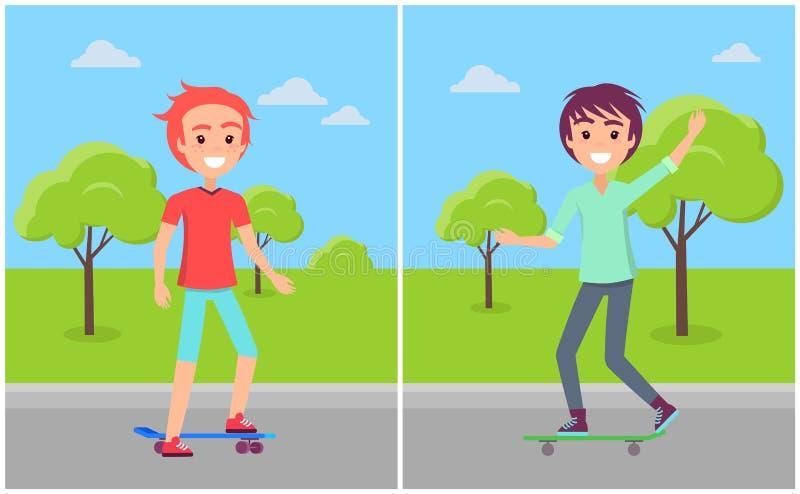 Kaukaskie chłopiec dalej Jeździć na deskorolce jazdę przy Skatepark royalty ilustracja