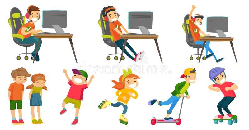 Kaukaskie dziewczyn i chłopiec wektorowe ilustracje ustawiać ilustracja wektor