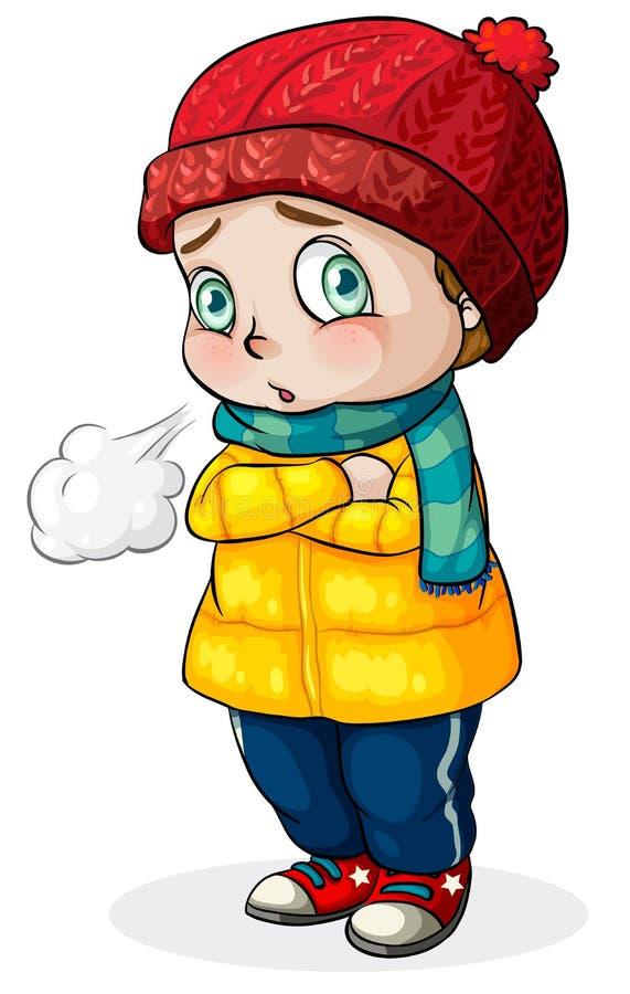 Kaukaskiego dziecka czuciowy zimno ilustracji