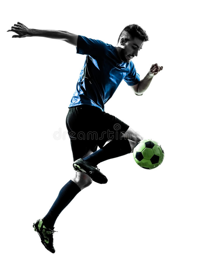 Kaukaskiego gracza piłki nożnej mężczyzna kuglarska sylwetka fotografia royalty free