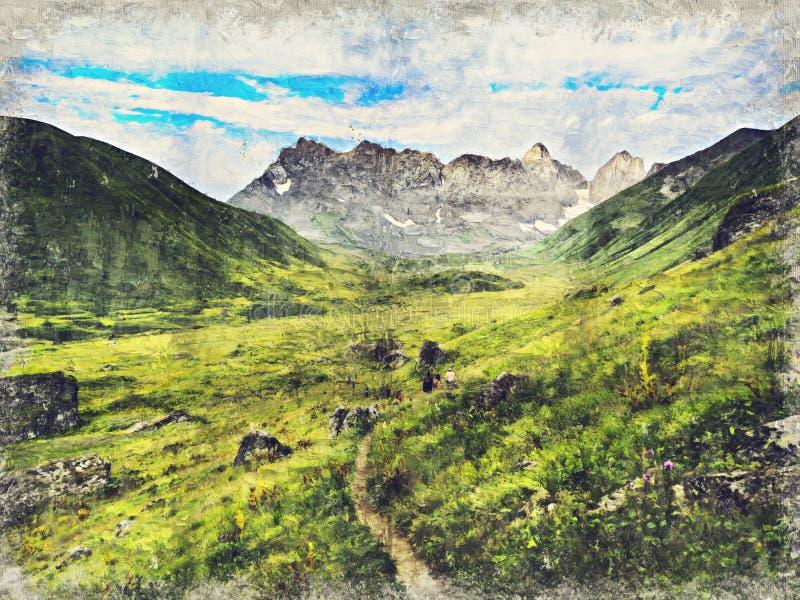 Kaukasus berg nära Roshka Chaukhi massiv och Abudelauri sjöar Khevsureti Georgia Digital Art Impasto Oil Painting stock illustrationer