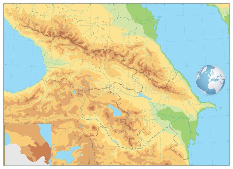 Kaukasus fysisk översikt ingen text royaltyfri illustrationer