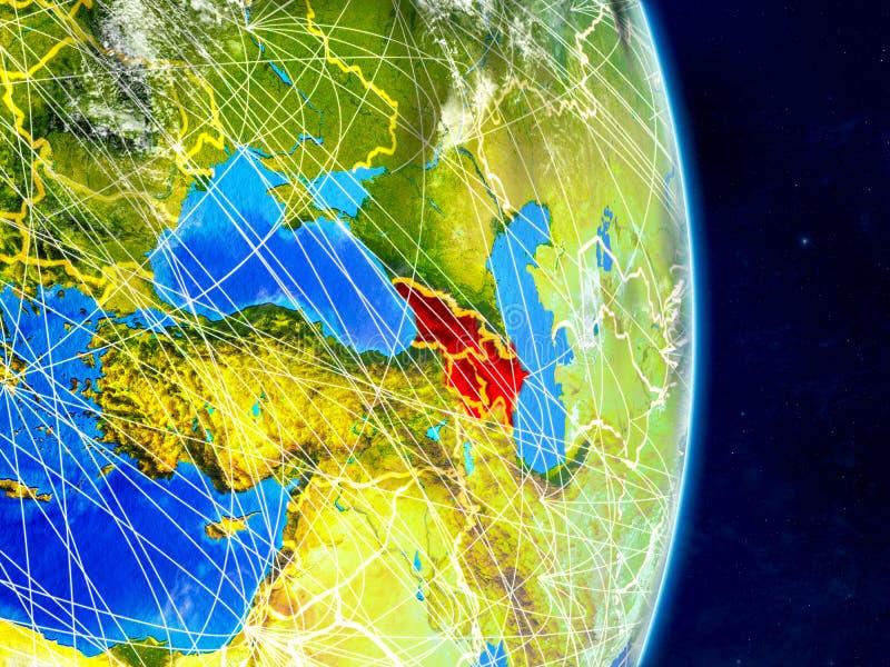 Kaukasus region på planetjord med nätverk Extremt detaljerade planetyttersida och moln illustration 3d Beståndsdelar av detta royaltyfri illustrationer