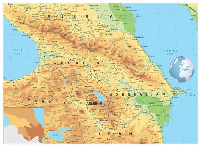 Kaukaz Fizyczna mapa royalty ilustracja