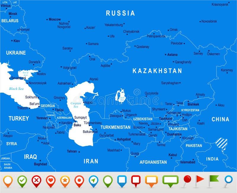 Kaukaz i centrali Azja mapa - Wektorowa ilustracja royalty ilustracja
