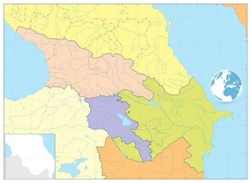 Kaukaz Polityczna mapa żadny tekst ilustracja wektor