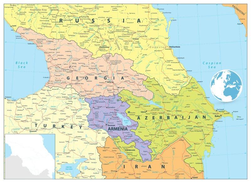 Kaukaz Polityczna mapa ilustracji