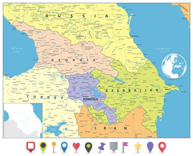 Kaukaz Polityczna mapa i Płascy mapa markiery royalty ilustracja