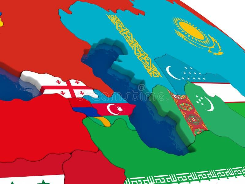 Kaukaz region na 3D mapie z flaga royalty ilustracja