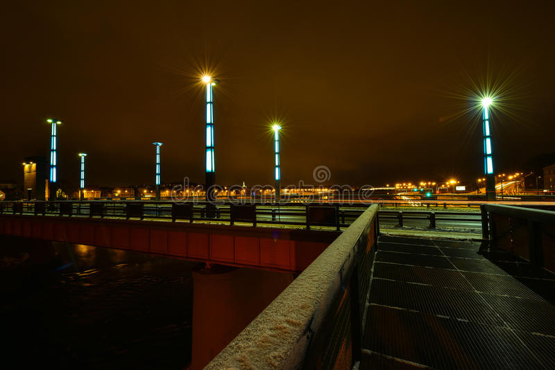 Kaunas Aleksotas bridge at night Lithuania. Night view of the illuminated Vytautas the Great bridge in Aleksotas, Kaunas, Lithuania royalty free stock photo