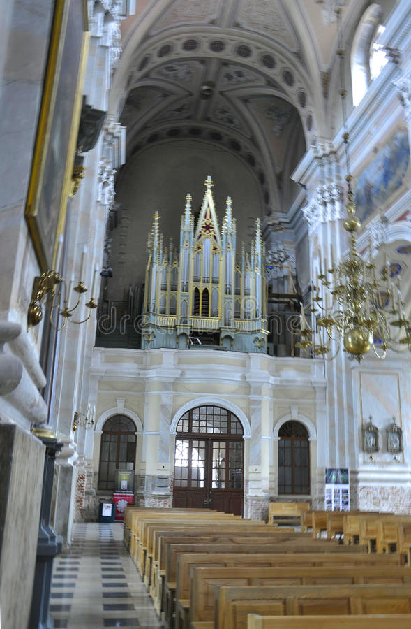 Kaunas August 21,2014- Basillica St Peter and Paul,interior from Kaunas in Lithuania royalty free stock photo