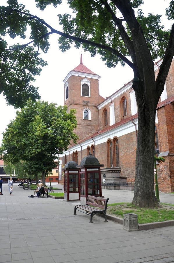 Kaunas 21,2014 Augustus - Basillica St Peter en Paul, binnenlands van Kaunas in Litouwen royalty-vrije stock foto