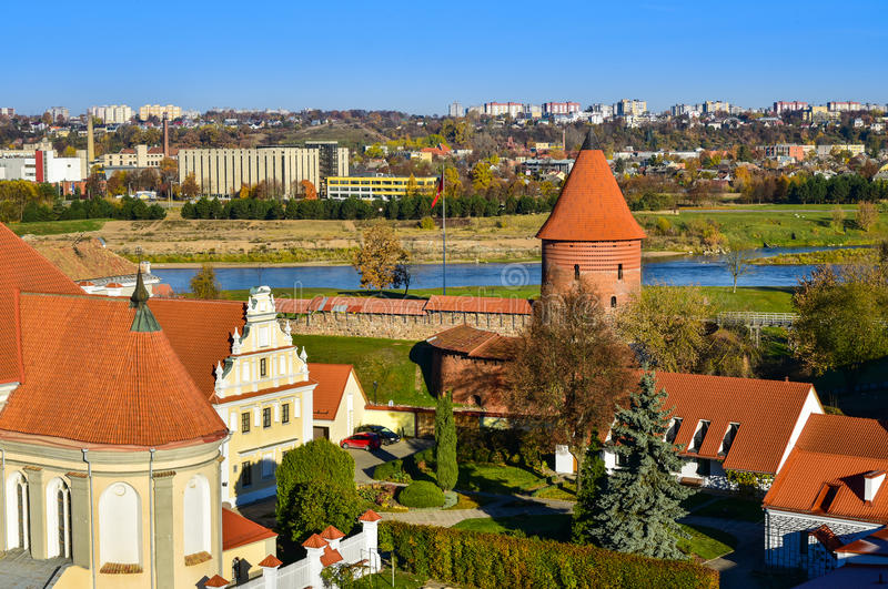 Kaunas cityscape. Aerial view of Kaunas old town and castle by the river Nemunas, Lithuania stock photography
