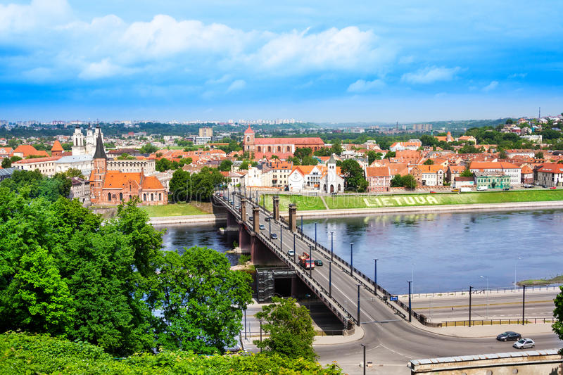 Kaunas cityscape. Panorama of the river and town of Kaunas on the west of Lithuania royalty free stock photo
