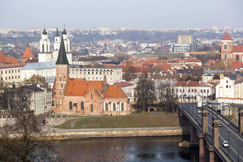Kaunas History. The view of Kaunas city old town with XVth century Vytautas' the Great Church in the center (Lithuania stock photography