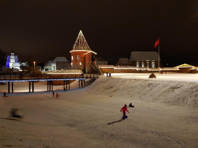 Kaunas kasztel w zima sezonie, Lithuania zdjęcie royalty free