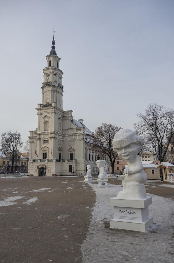 Kaunas, Lithuania - January 3, 2016: Town hall and town hall square with christmas market and statue. stock photography