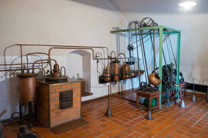 Kaunas, Lithuania - May 12, 2017: antique pharmaceutical tablet machine inside of Museum of History of Medicine and Pharmacy. royalty free stock image