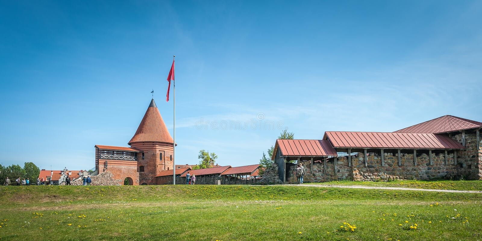 View of historical gothic Kaunas Castle from medieval times in Kaunas. stock image