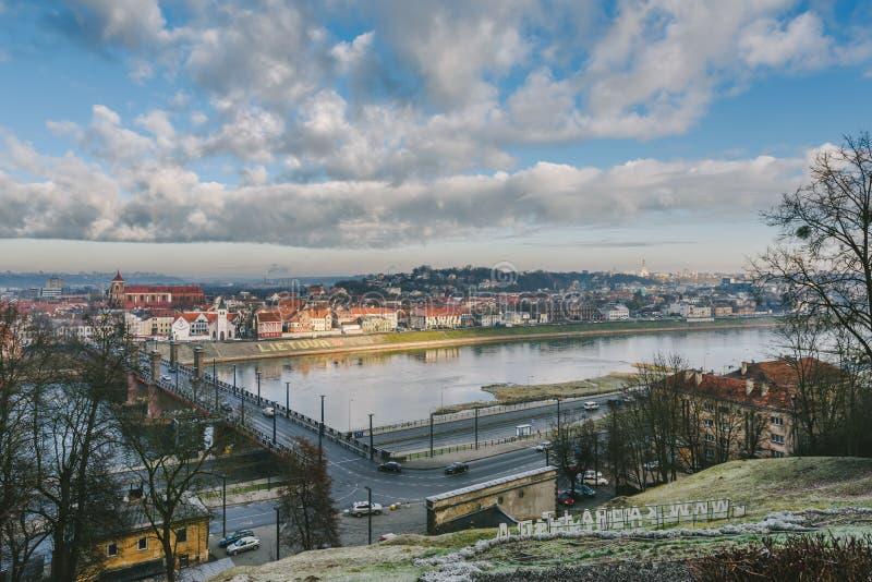 Kaunas, Lithuania. Panorama of Kaunas city from Aleksotas hill, Lithuania stock images