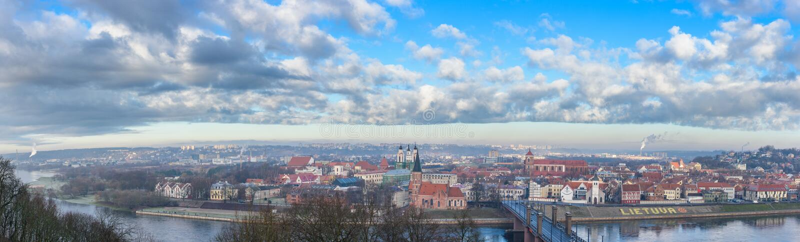 Kaunas, Lithuania. Panorama of Kaunas city from Aleksotas hill, Lithuania stock image
