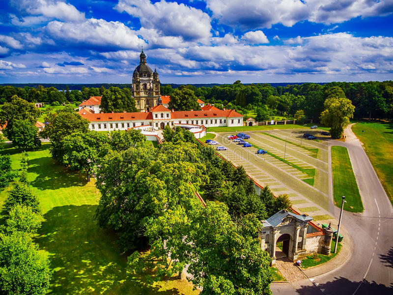 Kaunas, Lithuania: Pazaislis Monastery and Church. Located on a peninsula in Kaunas Reservoir, in the summer royalty free stock image