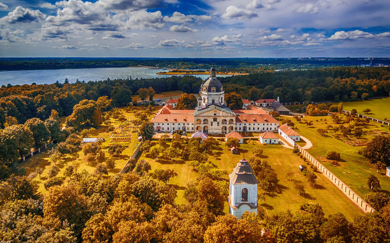 Kaunas, Lithuania: Pazaislis Monastery and Church. Located on a peninsula in Kaunas Reservoir, in the summer stock image