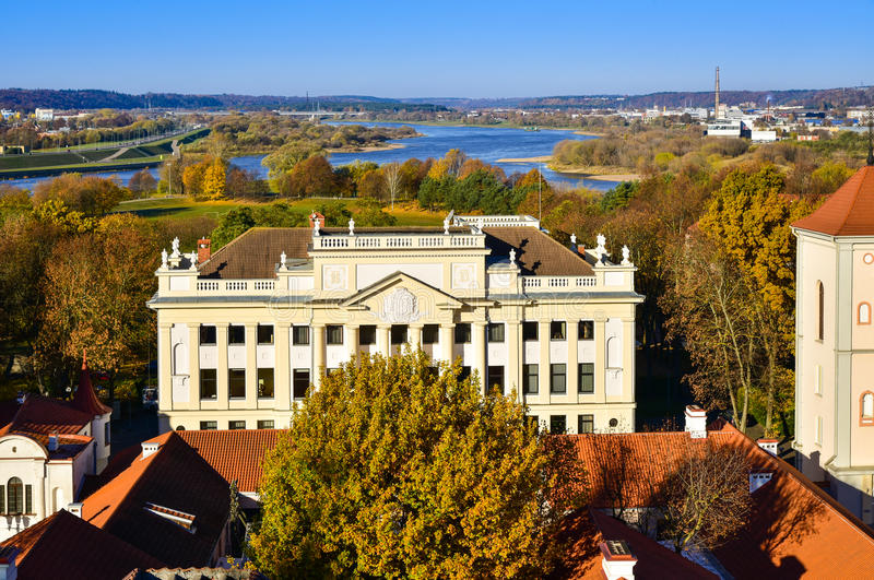 Kaunas old town cityscape archdiocese house aerial view. Aerial view of Kaunas old town with the river Nemunas and archdiocese house, Lithuania royalty free stock photo