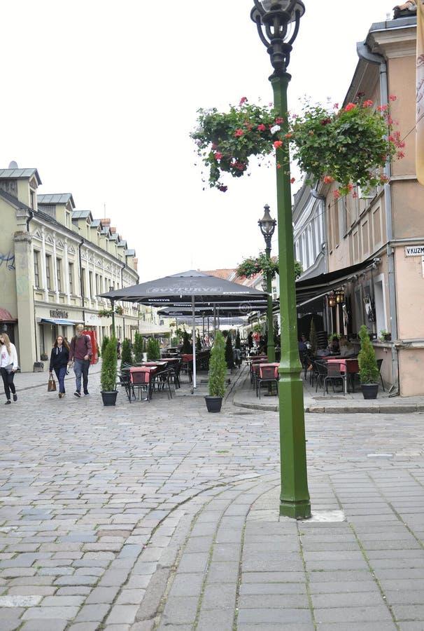 Kaunas Sierpień 21,2014-Historic centrum Kaunas w Lithuania obraz stock