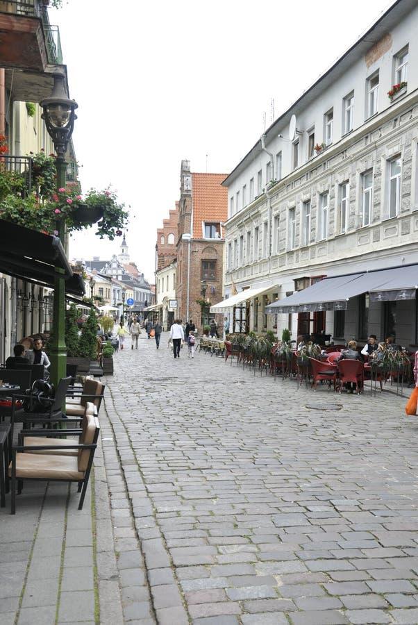 Kaunas Sierpień 21,2014-Street Historyczny centrum Kaunas w Lithuania zdjęcie stock