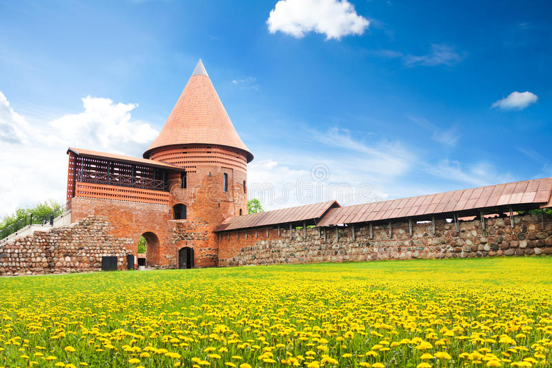 Kaunas slottgård royaltyfri foto