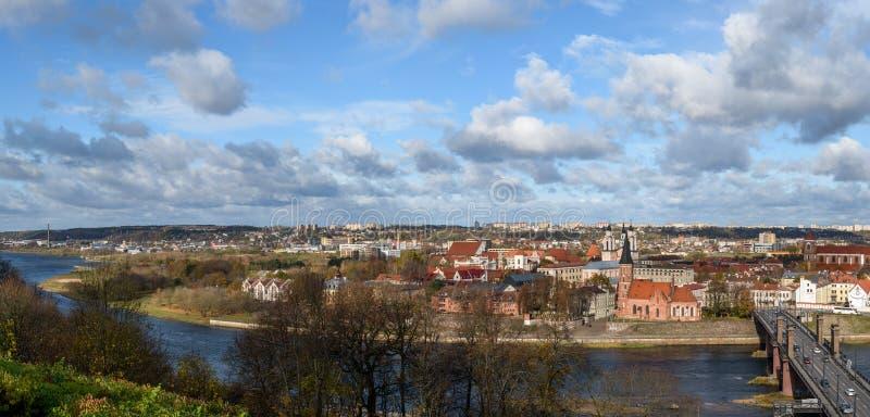 Kaunas stara grodzka panorama obraz stock