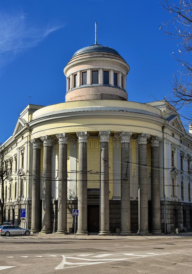 Kaunas State philharmonic hall, Lithuania. Facade of Kaunas state philharmonic hall, Lithuania. The building is classified as neo-classical style building with stock photography