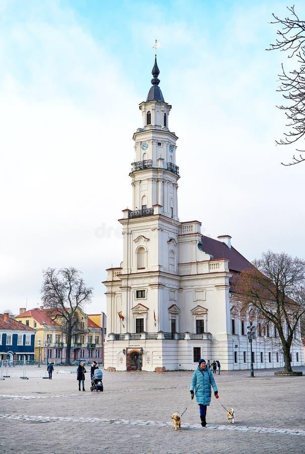 KaunasRathaus, Litauen stockbilder