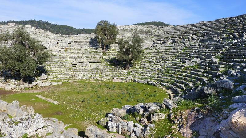 Kaunos保存良好的古老剧院在Dalyan 免版税图库摄影