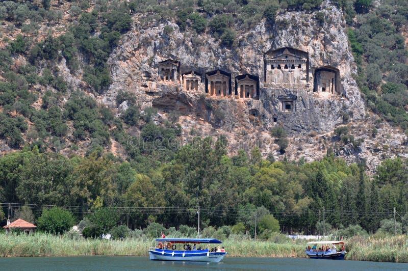 Kaunos Lycian skały grobowów nr Dalyan, Turcja zdjęcia stock