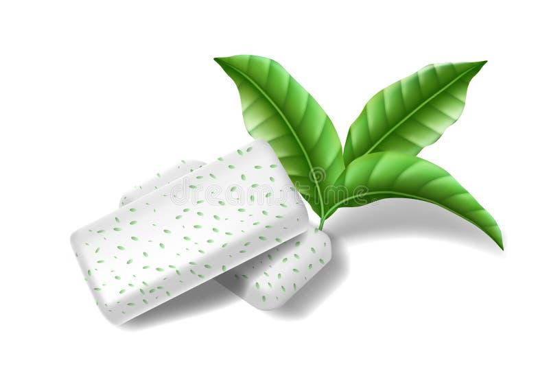 Kauwend stootkussensgom met geïsoleerde muntbladeren Kauwgom voor gezonde tanden en verse ademhaling Malplaatjeontwerp voor royalty-vrije illustratie